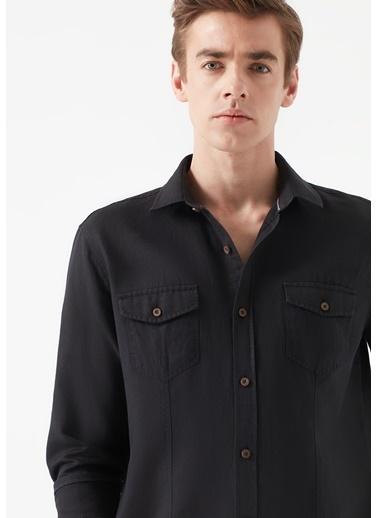 Mavi Çift Cepli Gömlek Siyah